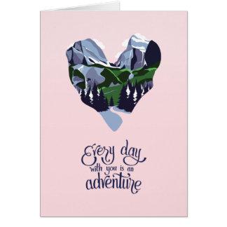 Cartão romântico temático do desenhista da