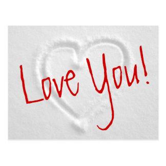 Cartão românticos do inverno com o coração tirado cartão postal