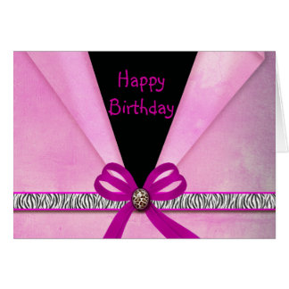 Cartão Rosa animal do impressão & doce dobrado preto 16