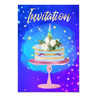 Cartão Rosa azul cor-de-rosa da noite estrelado do ouro