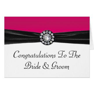 Cartão Rosa & branco com veludo preto & casamento de