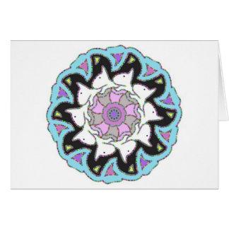Cartão Rosa branco de bull terrier/design simétrico azul