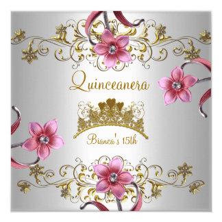 Cartão Rosa branco de Quinceanera o 15o floresce a tiara