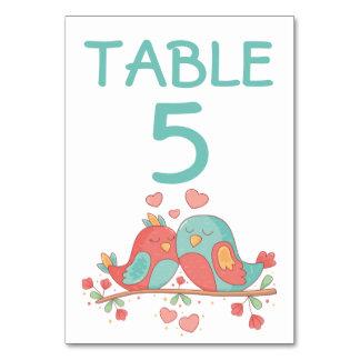 Cartão Rosa & casamento do número da mesa dos Lovebirds