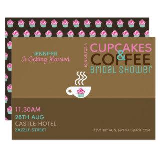 Cartão Rosa Choc do chá de panela dos CUPCAKES do CAFÉ
