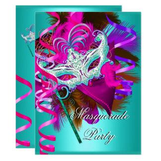 Cartão Rosa da cerceta da máscara do partido do mascarada