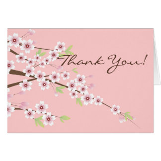 Cartão Rosa da flor de cerejeira & obrigado de Brown você