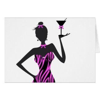 Cartão Rosa da zebra de Martini do party girl
