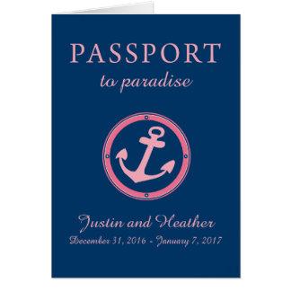Cartão Rosa das caraíbas ocidental e marinho do