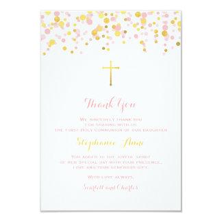 Cartão Rosa do comunhão e confetes do ouro