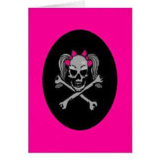 Cartão Rosa do decalque do crânio do rabo de cavalo