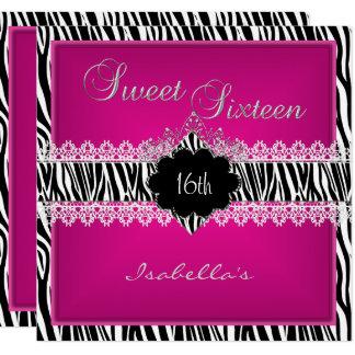 Cartão Rosa do doce dezesseis do laço da zebra do doce 16
