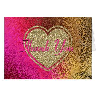 Cartão Rosa do Glitz & obrigado do ouro você