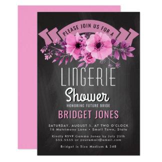Cartão Rosa do quadro do chá de panela da lingerie floral