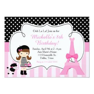 Cartão Rosa e preto da torre Eiffel de Paris do la do la