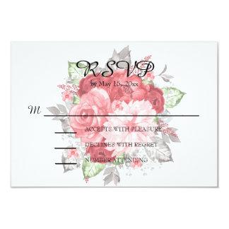 Cartão Rosa e rosas vermelhas em RSVP Wedding branco
