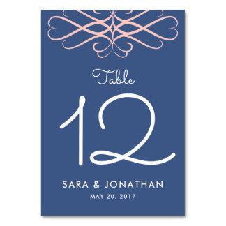 Cartão Rosa e sarja de Nimes azuis, Flourishes elegantes