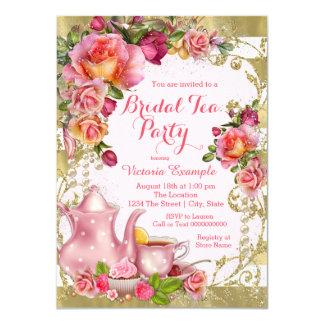 Cartão Rosa e tea party do ouro