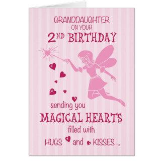 Cartão Rosa feericamente mágico do segundo aniversário da