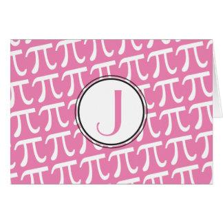 Cartão Rosa feito sob encomenda dos símbolos do Pi do