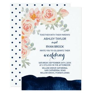Cartão Rosa floral do pêssego e casamento da aguarela do