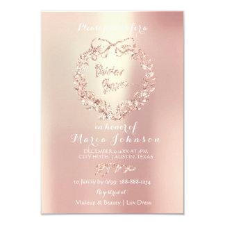 Cartão Rosa floral do rosa da pérola da grinalda do Lux