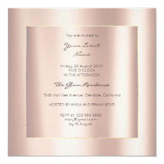Cartão Rosa metálico mínimo do rosa do ouro da geometria