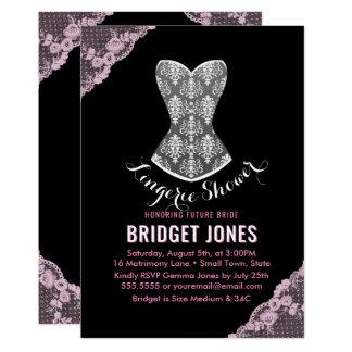 Cartão Rosa nupcial do partido do chá da lingerie do