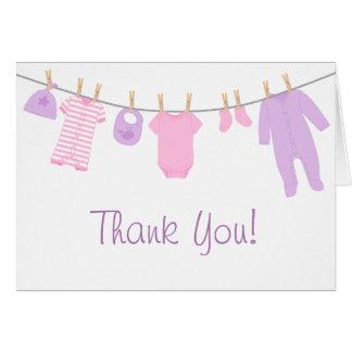 Cartão Rosa & obrigado pequeno roxo do chá de fraldas da