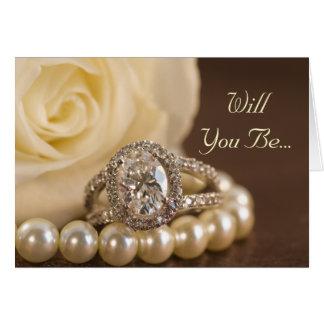 Cartão Rosa oval do anel de diamante você será minha dama