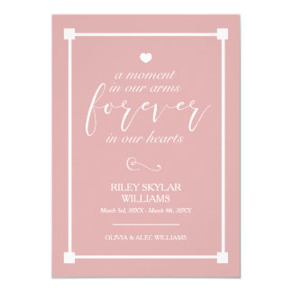 Cartão Rosa para sempre em nosso memorial do bebê dos