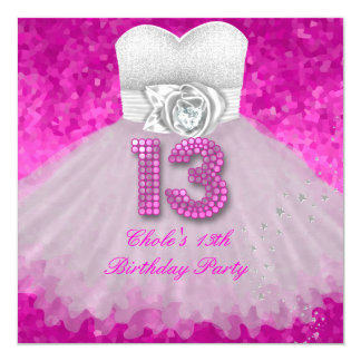 Cartão Rosa quente de meninas de festa de aniversário do
