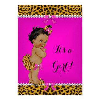Cartão Rosa quente do leopardo étnico do chá de fraldas