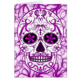 Cartão Rosa quente no rosa - dia do crânio inoperante do