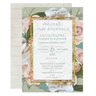 Cartão Rosa romântico rústico do rosa do chá de panela