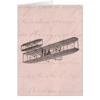Cartão Rosa velho retro do plano do biplano do avião do