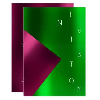 Cartão Rosa verde metálico do rosa do evento da forma do