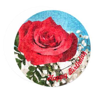 Cartão Rosa vermelha - feliz aniversario das belas artes