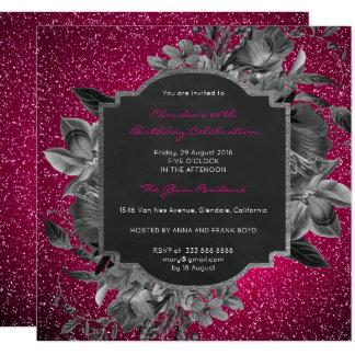 Cartão Rosa vívido do preto barroco floral da prata do