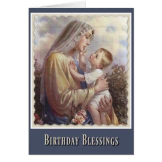 Cartão Rosas abençoados de Jesus da criança da Virgem