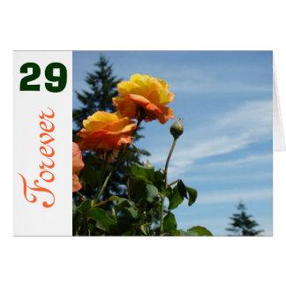 Cartão Rosas alaranjados 29 para sempre vinte e nove dos