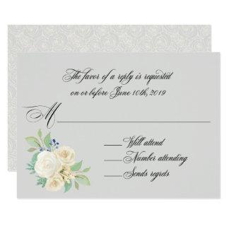 Cartão Rosas brancos RSVP Wedding floral elegante