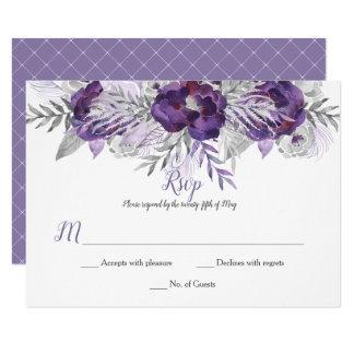 Cartão Rosas cinzentos RSVP da aguarela da lavanda roxa