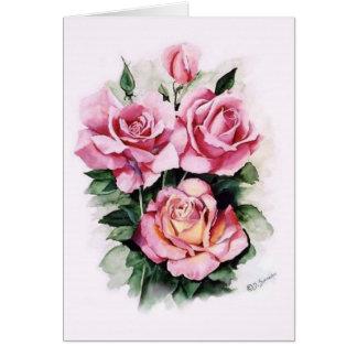 Cartão Rosas cor-de-rosa