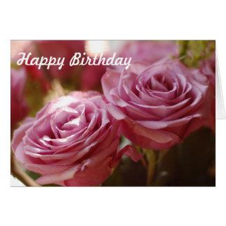 Cartão Rosas cor-de-rosa bonitos