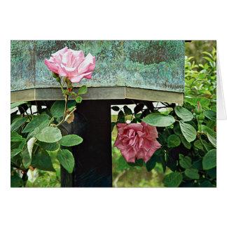 Cartão Rosas cor-de-rosa contra o Birdhouse resistido