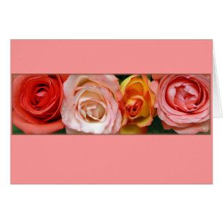 """Cartão """"Rosas cor-de-rosa e amarelos """""""