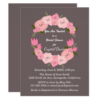 Cartão Rosas cor-de-rosa, tulipas, flores grinalda, chá