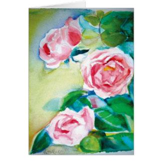 Cartão Rosas da aguarela