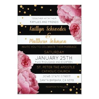 Cartão Rosas da listra e casamento moderno dos pontos do